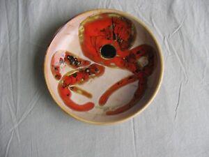 Très beau plat vintage Vallauris an.70 Fat Lava décor poulpe Monique Brunner