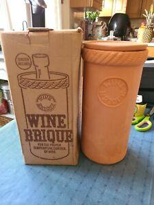 "Wine Brique Bottle Cooler Terra Cotta Chilled Temperature Control 10 1/4"" Tall"