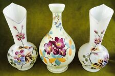 "THREE Estate Antique Painted 10-1/2"" BRISTOL GLASS Flowers Mantle Lustre VASES"