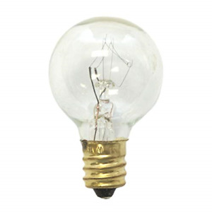 Replacement Globe Light Bulb, G30, 5W/130V, E12 Base, Clear, 25 Pack, New, Free