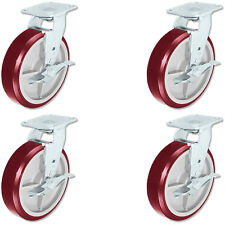 CASTERHQ - 8 inch X 2 inch Poly. Swivel Casters with Brakes (4) Industrial Wheel