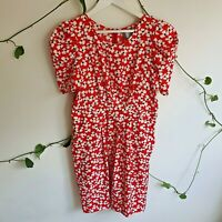 Hi There from Karen Walker Red White Floral Vintage-Style Dress 14 (M-L) Pockets