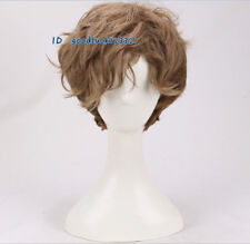 cosplay wig men's Handsome Short Brown gradient Curly hair wig +a wig cap