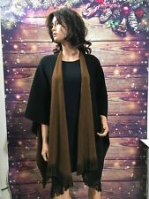 WOMENS COLDWATER CREEK BLACK/RUSTY BROWN BLANKET PONCHOS-CAPES-WRAPS~ONE SIZE