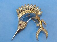 Coro Pegasus 1950s Jelly-Belly gold-plated sterling silver swordfish brooch