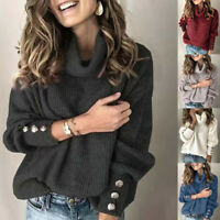 Women's Turtleneck Pullover Button Long Sleeve Loose Knitted Jumper Sweater Tops