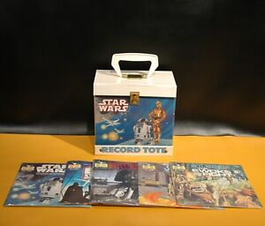 Vintage STAR WARS 33 RPM RECORD TOTE CASE 5 SEALED RECORDS READ ALONG BOOKS Lot