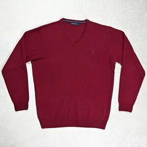 Mens JAMES PRINGLE 100% Wool Knitted Sweater Jumper Size LARGE V-neck Dark red