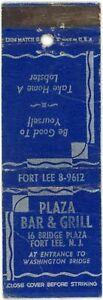 Plaza Bar & Grill, Take Lobster, Fort Lee New Jersey Vintage Matchbook Cover