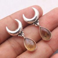Citrine Gemstone Dangle Earrings 925 Sterling Silver Jewelry