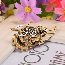 1pc Retro Medieval Gothic Breastpin Cosplay Props  Punk Brooch Gear Wing Design