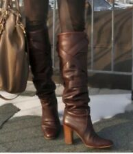 Auth CHLOE Tall BOOTS BROWN LEATHER PADDINGTON BUCKLE $1,100 sz IT 40 US 10