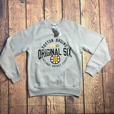 NHL Men Small Boston Bruins Stone Fleece Crew Pullover Sweatshirt CCM Original 6