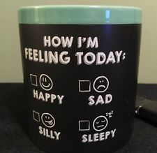 NEW TMD Holdings Funny How I'm Feeling Today Chalkboard Coffee Mug With Chalk