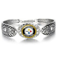 Pittsburgh Steelers Special Womens Sterling Silver Bracelet Football w GiftPk D3