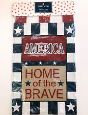 4th of July Patriotic Banner Garden Flag Burlap America Home of the Brave Blue