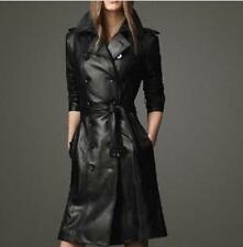Winter Leather Womens Casual Long Dust Jacket Chic Double-Breasted Coat Outwear