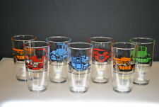 HAZEL ATLAS VINTAGE CAR TUMBLER GLASSES BAR WARE COLLECTIBLE (SET OF 7)