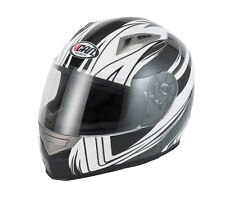 VCAN V158 Wind Graphic ACU Motorbike Motorcycle Crash Helmet Black/Grey/White
