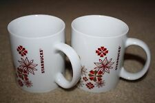 Novelty Ceramic Coffee Mugs Set of 2 Starbucks Brand Red Holiday Christmas 12oz.