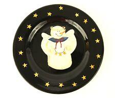 "Sonoma Snowman Snow Angel Black w Stars Snack Dessert Salad Plate 8"" Winter"