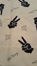 Old Navy Peace Love Graphic Cotton Canvas Tote Bag Women Shopping Beach NWT