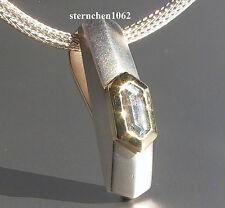 Einzelstück * Halskette mit Aquamarin - Anhänger * 925 Silber * 18 ct Gold