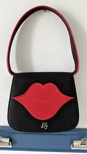 Vintage Lulu Guinness Small Purse Black Satin Red Lips Kids And Tell Edition