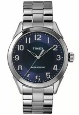 Timex TW2T46100, Briarwood, Men's Silvertone Dress Expansion Watch, Blue Dial