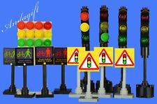 LEGO traffic lights x4 signs 4 pedestrian crossing signs  road street city