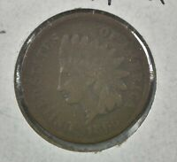 1865 Indian Head Cent Penny Full Liberty Nice Original Coin Grades VF