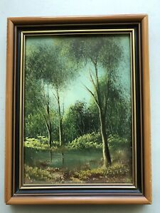 Robert R.Fisher Original Bush Water Hole Gum Trees Framed Oil Painting Signed