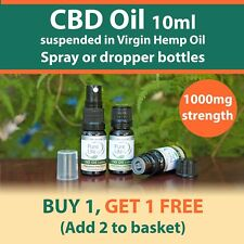 10 ML CBD OIL ( ORGANIC ) 1000mg BOTTLES  for topical use.  BUY 1 get 1 FREE. UK