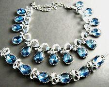 VINTAGE CHUNKY JULIANA STYLE NECKLACE BRACELET SET SILVER TONE BLUE STONES