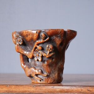 Chinese Horn libation cup, Prunus Root form 20th century