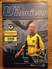 Football Programme: Oxford United v Bury - League 3  - Played 10th August 2002