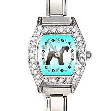 Kerry Blue Terrier Cz Ladies Stainless Steel Italian Charm Bracelet Watch Bj1028