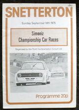 SNETTERTON SIMONIZ CHAMPIONSHIP PROGRAMME 14 SEPT 1975