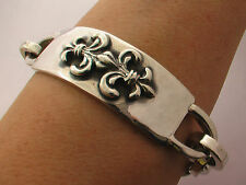 "Taxco Mexico 925 Sterling Silver Fleur-de-Lis ID Rolo Chain Bracelet. 8"", 88 g"