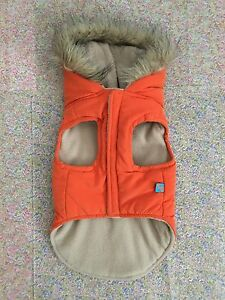 Small Dog Hooded Orange Down Jacket with Aqua Blue Tee Shirt