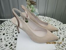 FAITH BEIGE AND GOLD  FAUX SUEDE SLINGBACK SHOES SIZE 7 UK 40 EU BRAND NEW