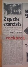 LED ZEPPELIN  exorcists MOVIE review 1976  UK  ARTICLE / clipping