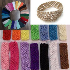10x Soft' Baby UnisexToddler Crochet Ribbon Headwear Headband Hairband Bubblegum