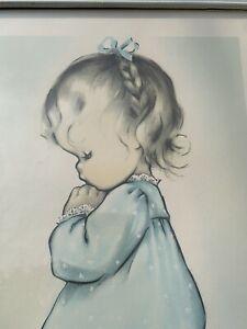 "Charlot Byi Framed Nursery Print ""A Child's Prayer"" Aged White Frame Blue Trim"