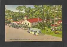 LINEN POSTCARD:  BUS AT LOWE'S CAMP GROUNDS IN ST. PETERSBURG, FLORIDA - Unused