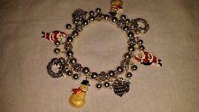 Very Nice Vintage Avon Christmas Bracelet. Santas, Snowmen, Wreaths