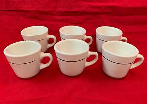 Rego White Coffee Cups, Set of 6 Tea Cup Restaurant Mugs E652-16 G Made Korea