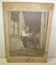 Young man plays mandolin or lute on porch, original cabinet photo, c. 1910, old
