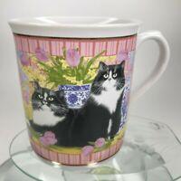Vintage Enesco Anne Mortimer Collection Mug Pair Cats Kitten 1996 Tea Cup C23