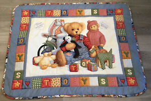 Crib Quilt, Hand Made, Printed Design, Teddy Bears, Bunny, Bike, Chick, Toys